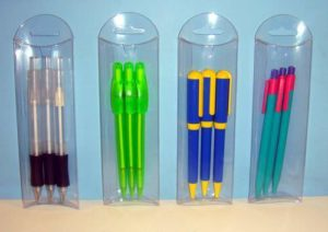 3-Pack Blank Plastic Retractable Pens in Acetate Package