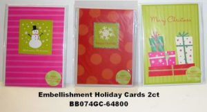 Two Pack Holiday Greeting Cards with Envelopes