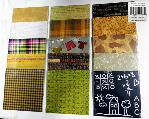 10 Per Case Assorted Homespun Harvest Scrapbooking Papers