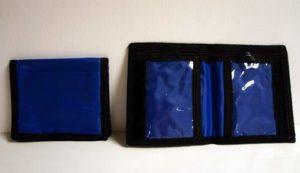 36 Wholesale Blue Bi-Fold Velcro Zippered Wallet