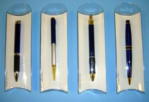 Assorted Blank Metal Retractable Pen in Acetate Package