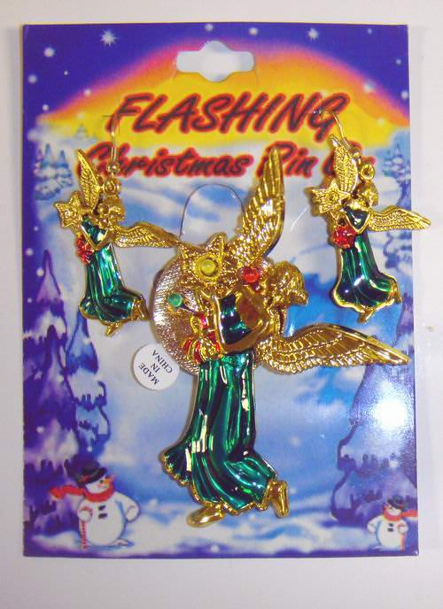 Christmas Flashing 3 Color LED Angel Brooch and Earring Set