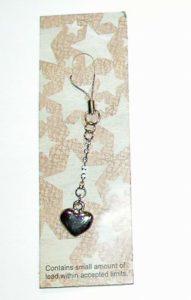 Diamond Jeweled Heart Cell Phone Charm