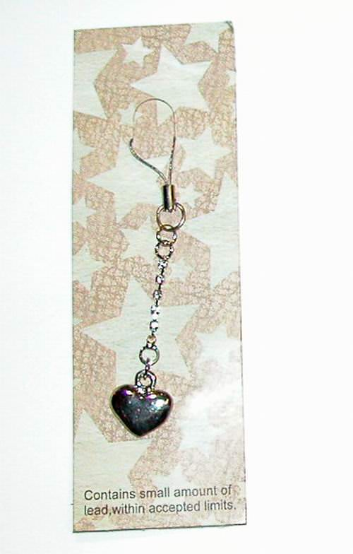 Diamond Jeweled Heart Cell Phone Charm