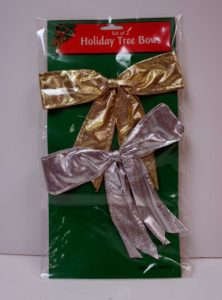 Set of 2 Gold and Silver Holiday Tree Bows