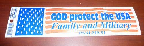 Made in the USA Patriotic Bumper Sticker God Protect the USA
