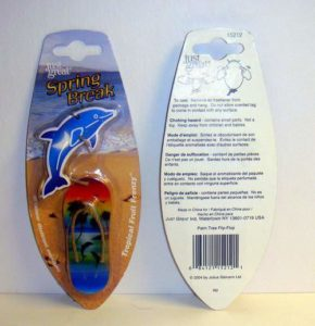 Spring Break Dolphin Sandal Palm Tree Hanging Car Air Freshener with Tropical Fruit Scent