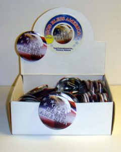 "3 Inch Patriotic Pins ""God Bless America"""