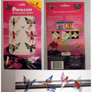 144 Per Case Papillion 3D Pop-Up Fairy Stickers