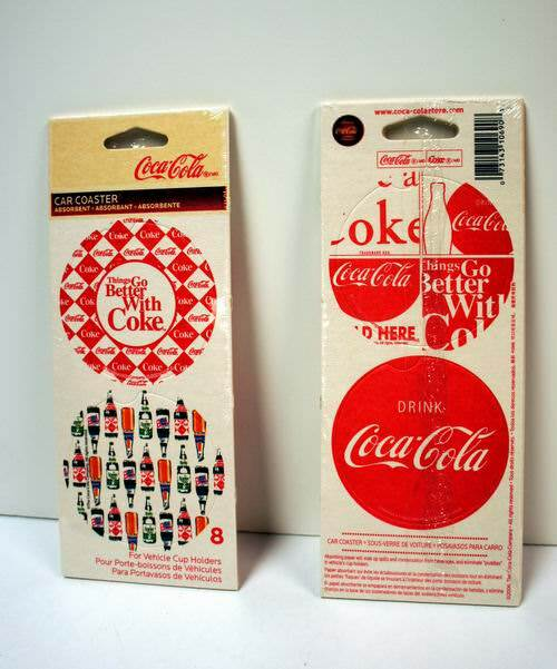 Wholesale Set of 2 COCA-COLA Vehicle Cup Holder Car Coasters