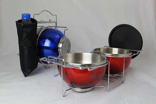 2 Sets of Nifty Pets-on-the-Go Steel Collapsible Travel Dog Bowl Dish
