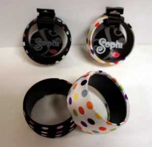 72 Wholesale Sophi Fashion Polka-Dot Satin Bangle Bracelets