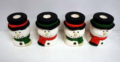 Wholesale Ceramic Snowman Taper Candle Holders