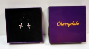 Cherrydale Farms Pink Stone Cross Earrings
