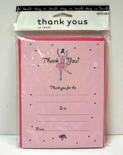 10 Pack Girl Themed Thank You Notes with Envelopes