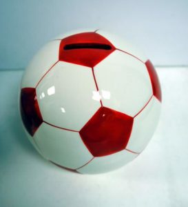 Red Soccer Ball Shaped Ceramic Piggy Bank