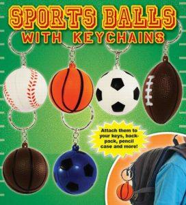 Sponge 3.5 Sports Ball Keychains - Football, Basketball, Baseball and Soccer