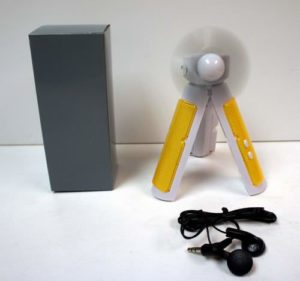 3 in 1 Tripod Fan with FM Scan Radio, Flashlight and Headphones