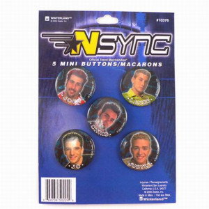 NSYNC Boy Band 5 Piece Mini Button Set Includes Justin Timberlake