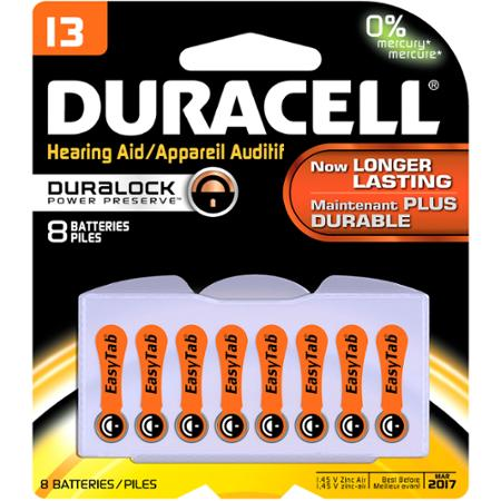 Duracell 1.4 Volt Zinc Air Hearing Aid Batteries Size 13 (8 Pack-) - Only 30 cents - expired dates