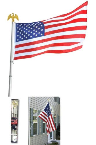 ''Bulk Lot Price! - Deluxe U.S. American Flag Pole Set With Golden Eagle Top by Americana, 6-Foot 3-P
