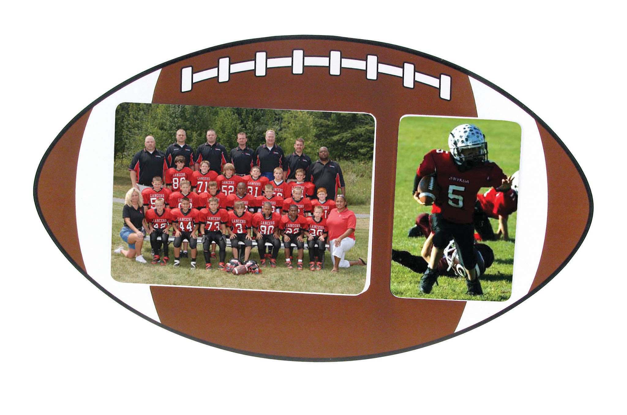 Football Sports Wood Picture Frame - Holds 2 Photos