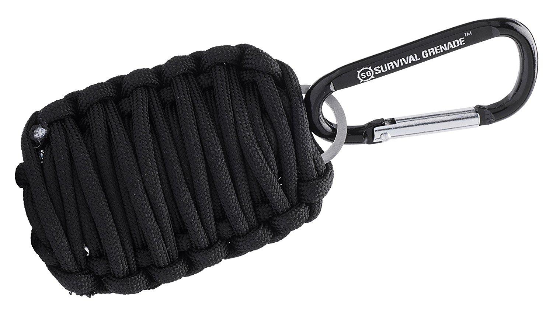 Black GRENADE Emergency Key Chain Survival Kit - Paracord (8 Survival Tools)