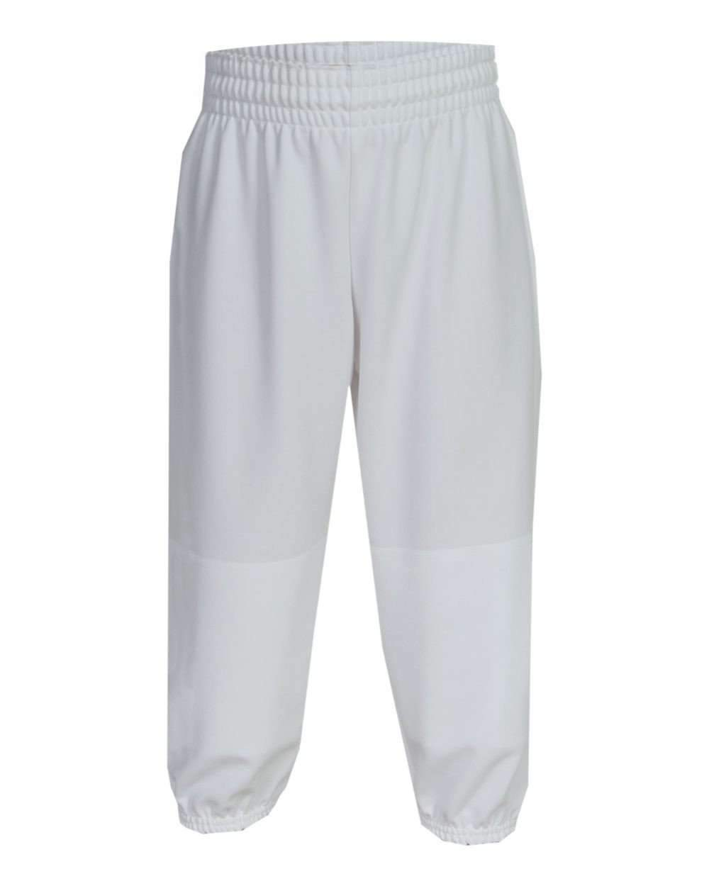 First String Youth Pull Up White Baseball Pants 100% Polyester - Assorted Sizes