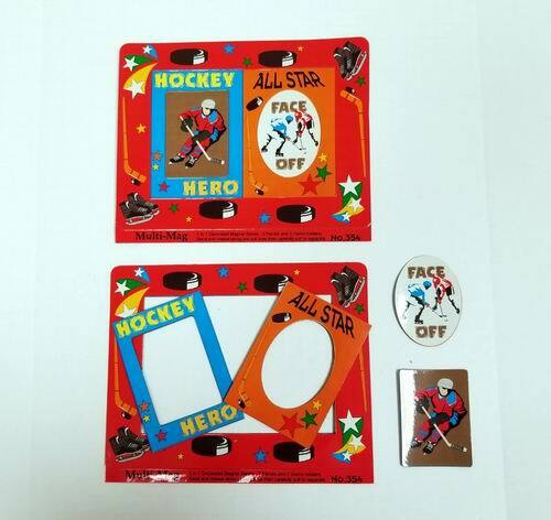 HOCKEY Themed Decorated Punch Out Magnet Picture Frames