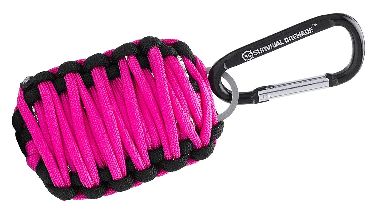 Pink GRENADE Emergency Key Chain Survival Kit - Paracord (8 Survival Tools)