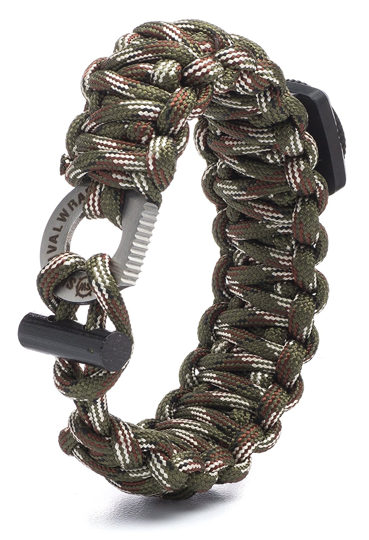 ''Camo Survival Wrap Emergency Paracord Bracelet w/ Fire Starter, Compass & More!''
