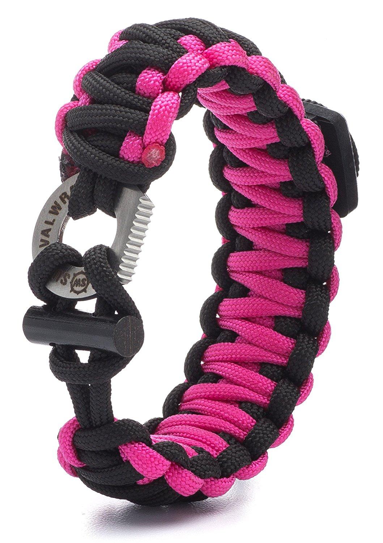 ''Pink Survival Wrap Emergency Paracord Bracelet w/ Fire Starter, Compass & More!''