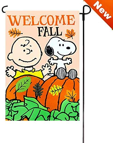 Jetmax Peanuts Fall Halloween Themed Welcome Garden Flags 12 X 18 Assorted